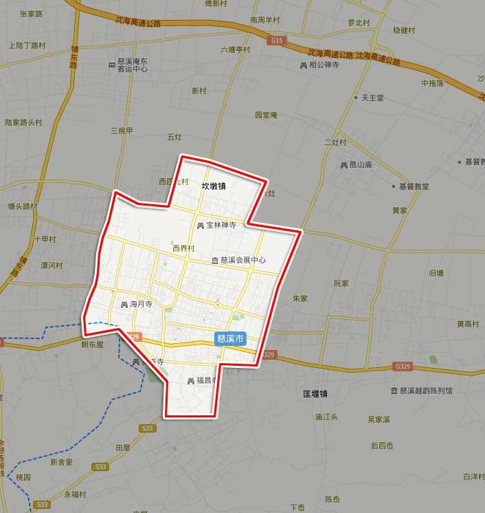 浙江慈溪市区地图展示图片