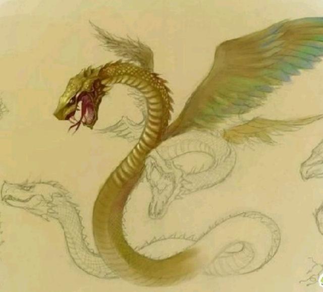 中国 范儿/鸣蛇大体如蛇,但有四翼,发磐磐之音。见则大旱。《山海经(中...