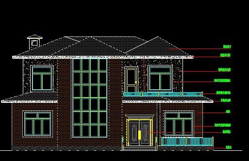 别墅 外立面( 门窗墙砖瓦片栏杆)求设计