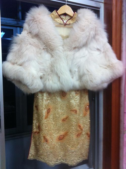 貂皮披肩搭配旗袍