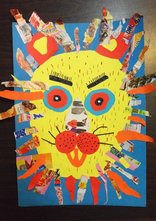 在这一单元剪贴画《狮子》的训练中,孩子们都能尽力,尽心去创作