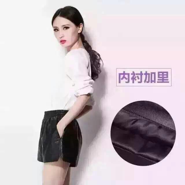 星李小璐同款 小羊皮皮短裤 皮质体现