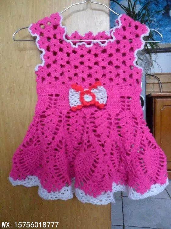 手工编织毛衣款式儿童小背心连衣裙的钩法详细教程,给