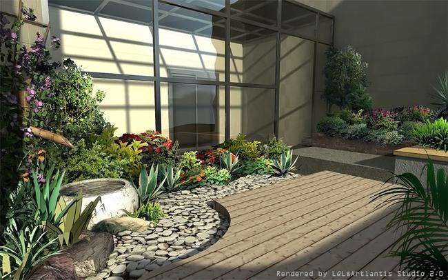 庭院景观绿化,厂区景观绿化,小广场景观绿化等小型园林景观效果图制作